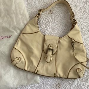 NWOT BCBGirls Ivory & Antique Gold Leather Satchel